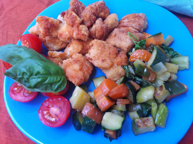 chicken nuggets plate with vegetables